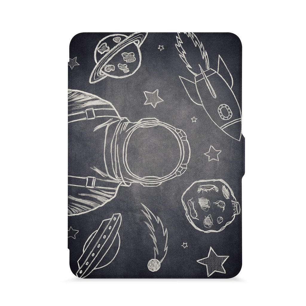 front view of personalized kindle paperwhite case with Astronaut Space design - swap