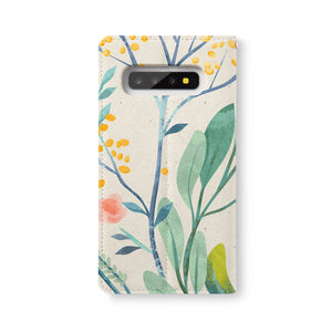 Back Side of Personalized Samsung Galaxy Wallet Case with Leaves design - swap