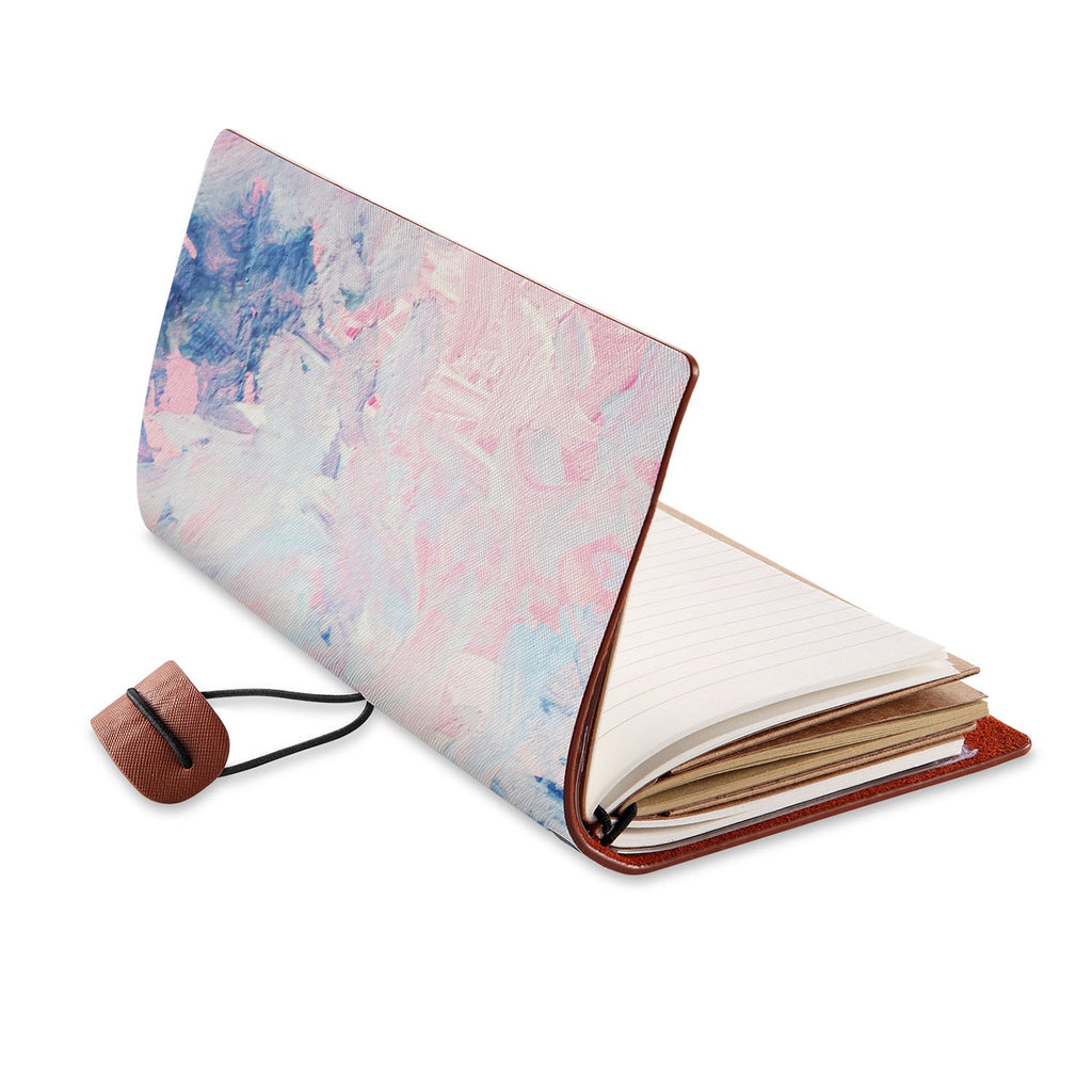 opened view of midori style traveler's notebook with Oil Painting Abstract design