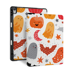 front back and stand view of personalized iPad case with pencil holder and Halloween design - swap