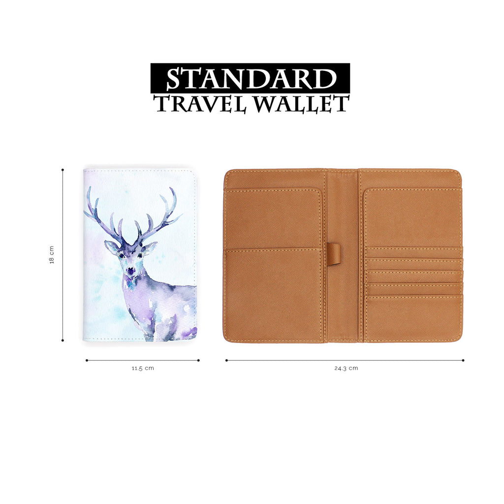 standard size of personalized RFID blocking passport travel wallet with Watercolour design