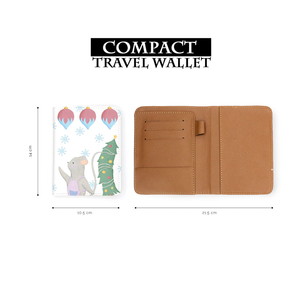 compact size of personalized RFID blocking passport travel wallet with Christmas Gouache design