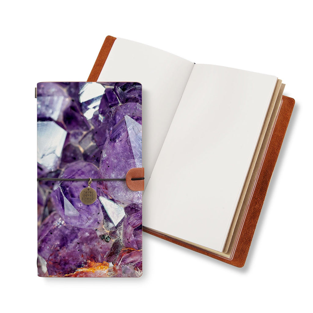 opened midori style traveler's notebook with Crystal Diamond design