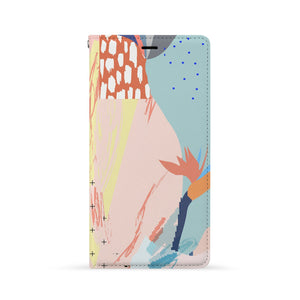 Front Side of Personalized Huawei Wallet Case with Abstract design