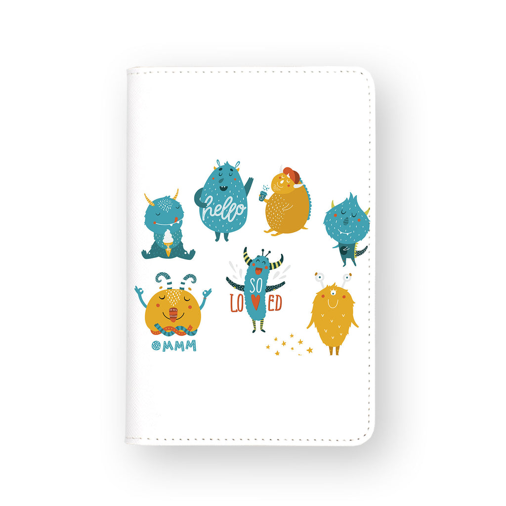 front view of personalized RFID blocking passport travel wallet with Cut Monsters design