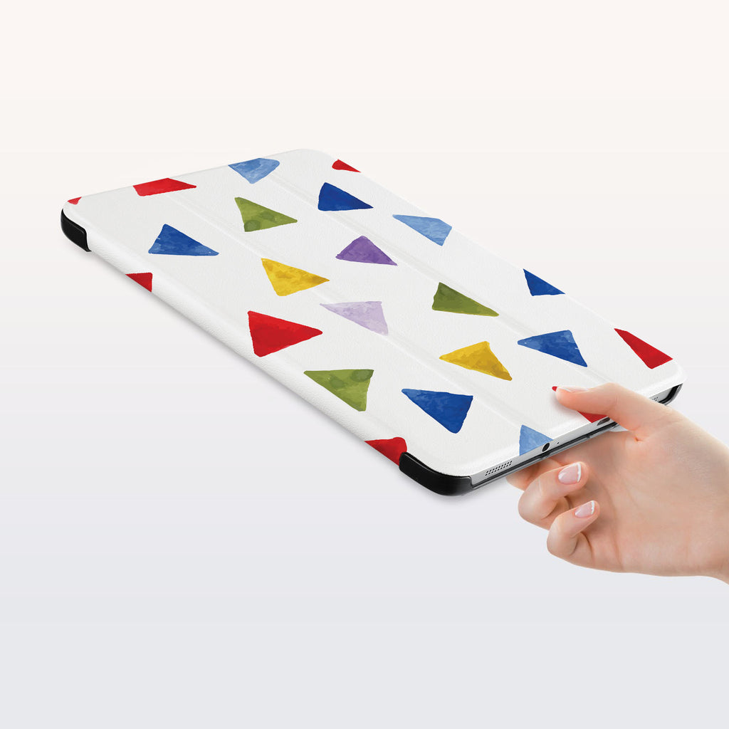 a hand is holding the Personalized Samsung Galaxy Tab Case with Geometry Pattern design