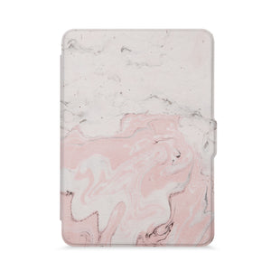 front view of personalized kindle paperwhite case with Pink Marble design - swap