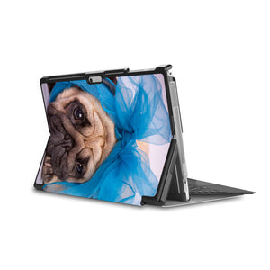 the back side of Personalized Microsoft Surface Pro and Go Case in Movie Stand View with Dog design - swap