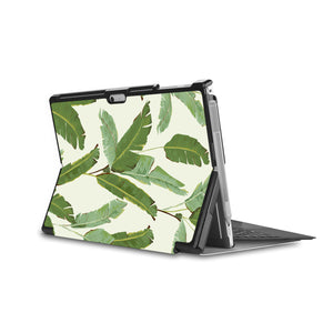 the back side of Personalized Microsoft Surface Pro and Go Case in Movie Stand View with Green Leaves design - swap