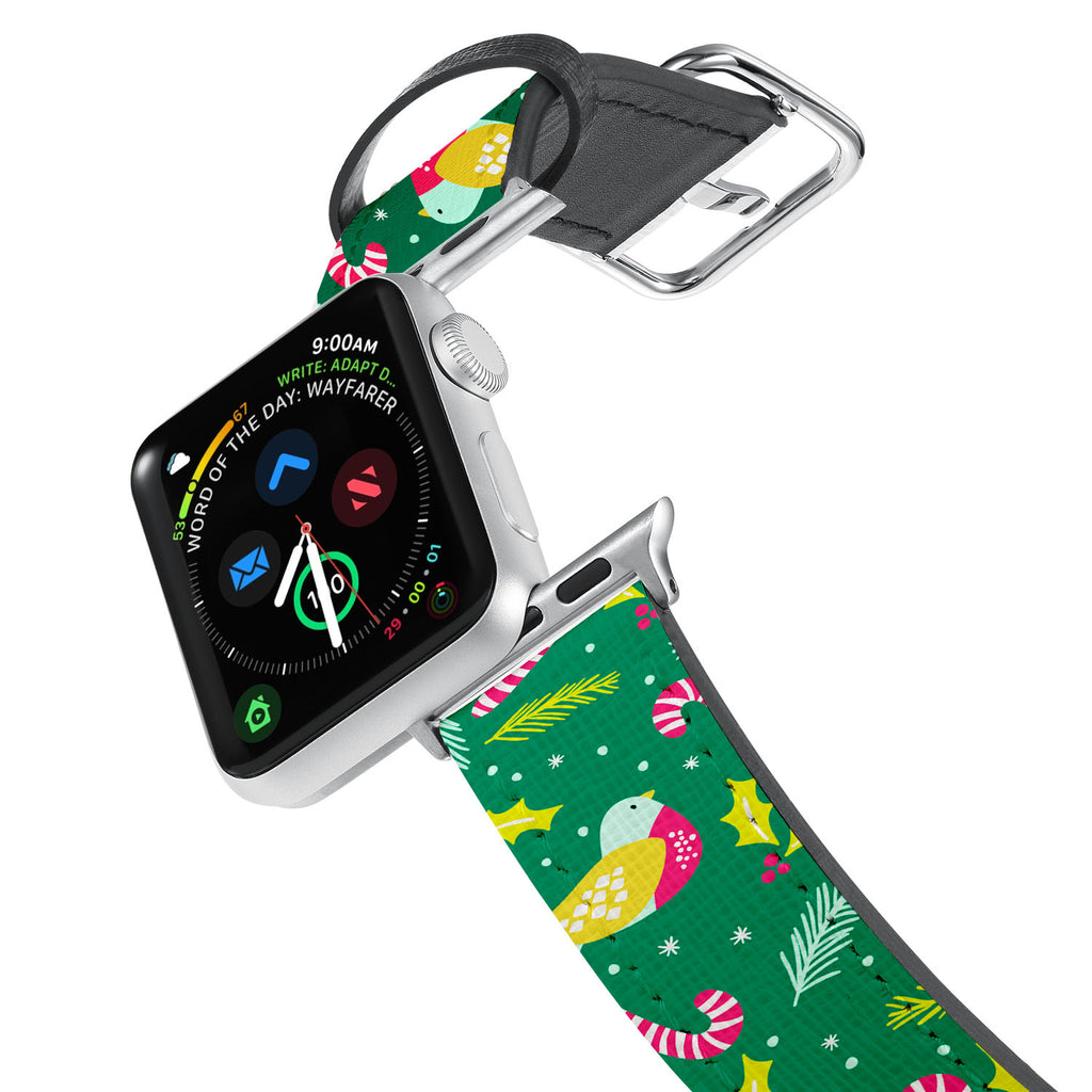Printed Leather Apple Watch Band with Holiday design. Designed for Apple Watch Series 4,Works with all previous versions of Apple Watch.