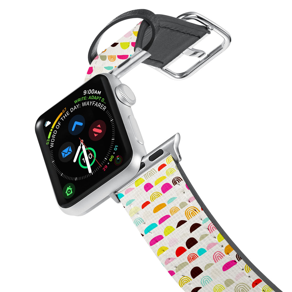 Printed Leather Apple Watch Band with Art 1 design. Designed for Apple Watch Series 4,Works with all previous versions of Apple Watch.