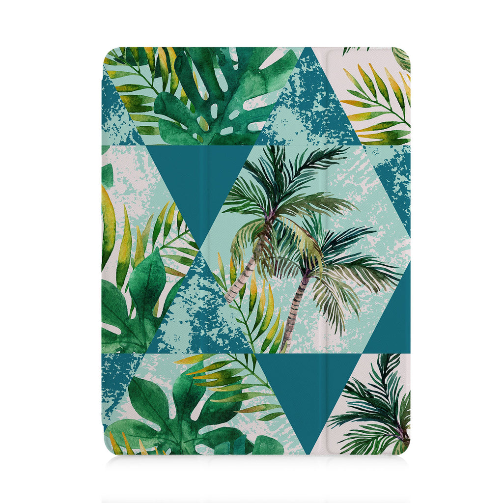 front and back view of personalized iPad case with pencil holder and Tropical Leaves design