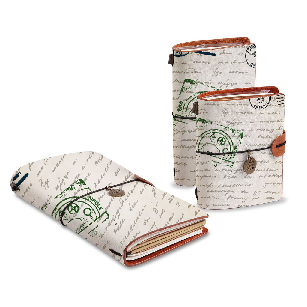 three size of midori style traveler's notebooks with Travel design