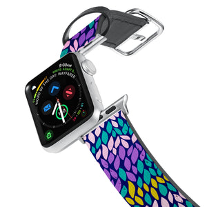 Printed Leather Apple Watch Band with Abstract design. Designed for Apple Watch Series 4,Works with all previous versions of Apple Watch.