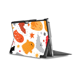 the back side of Personalized Microsoft Surface Pro and Go Case in Movie Stand View with Halloween design - swap