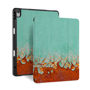 front back and stand view of personalized iPad case with pencil holder and Rusted Metal design - swap