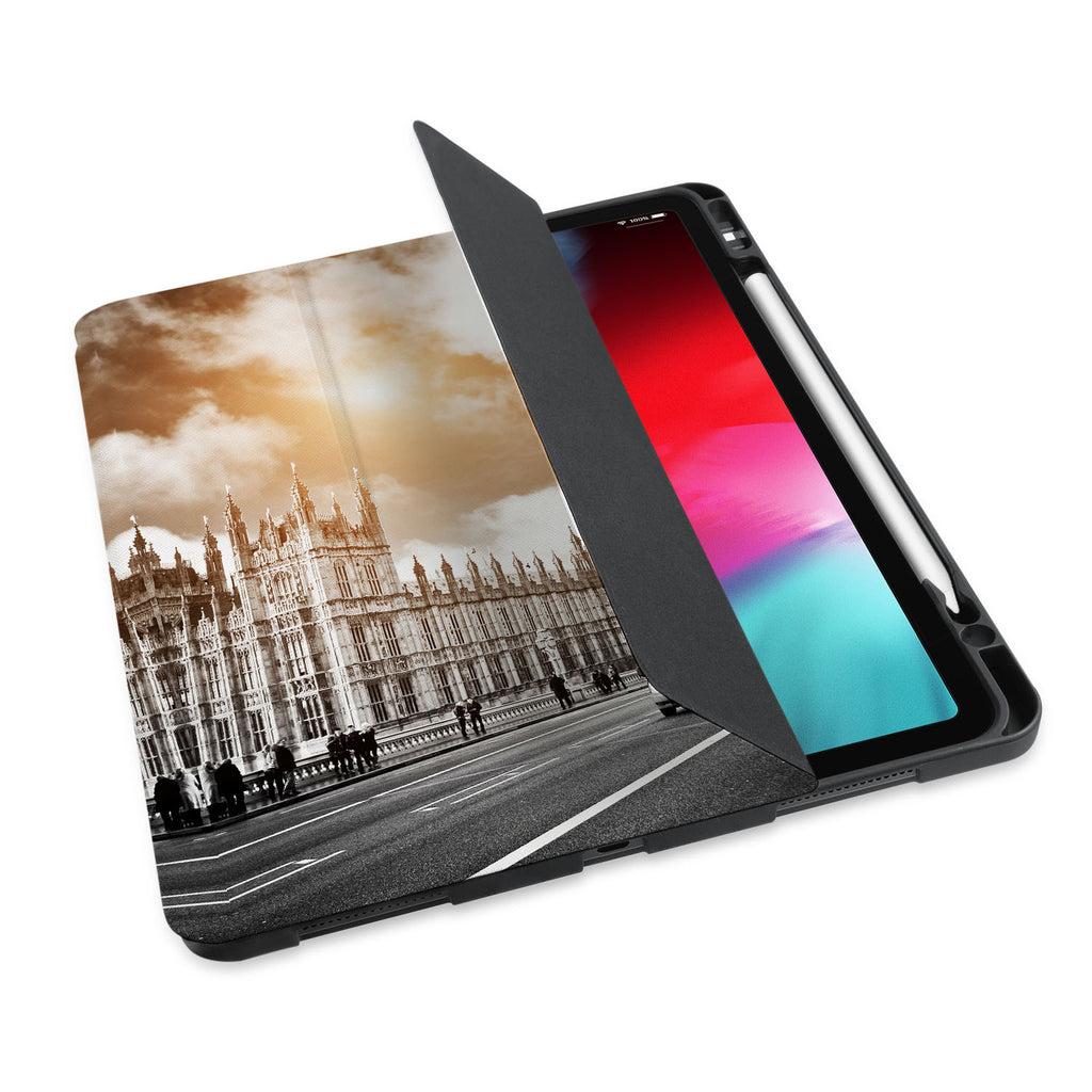 personalized iPad case with pencil holder and London design