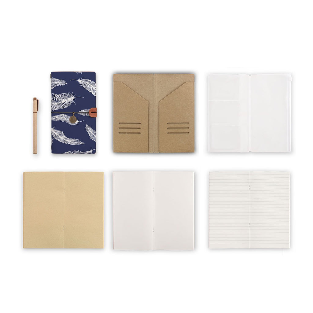 midori style traveler's notebook with Feather design, refills and accessories