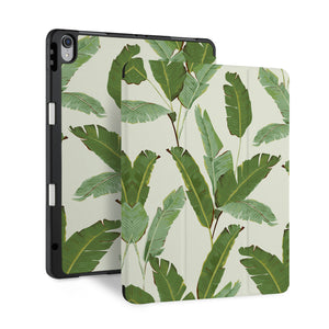 front back and stand view of personalized iPad case with pencil holder and Green Leaves design - swap