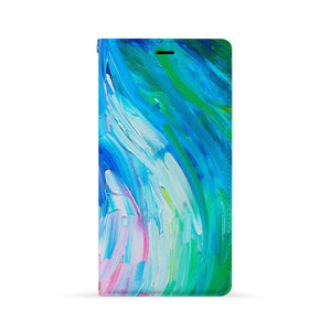 Front Side of Personalized Huawei Wallet Case with Abstract Painting design