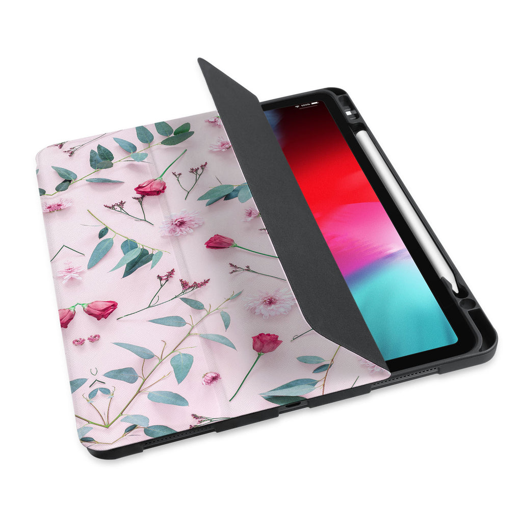 personalized iPad case with pencil holder and Flat Flower 2 design - swap