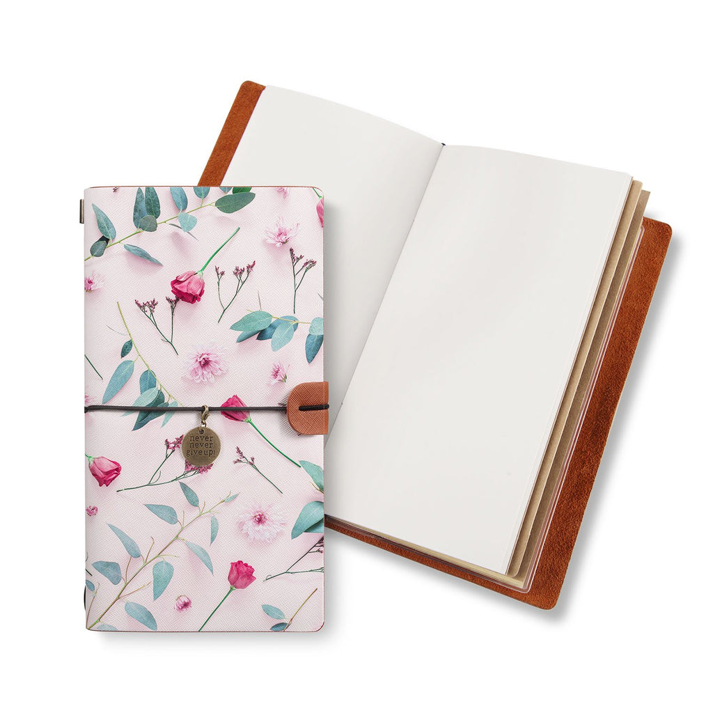 opened midori style traveler's notebook with Flat Flower 2 design
