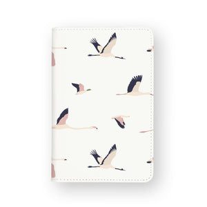 front view of personalized RFID blocking passport travel wallet with Bird And Flower design