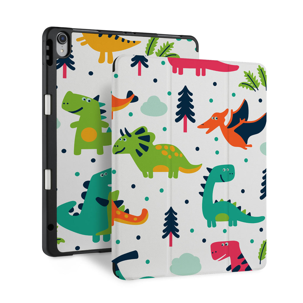 front back and stand view of personalized iPad case with pencil holder and Dinosaur design - swap