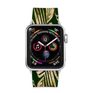 Our Printed Leather Apple Watch Band with Palms design are made of water- and scratch-resistant saffiano leather because we know you wear your apple watch every, single, day. - swap
