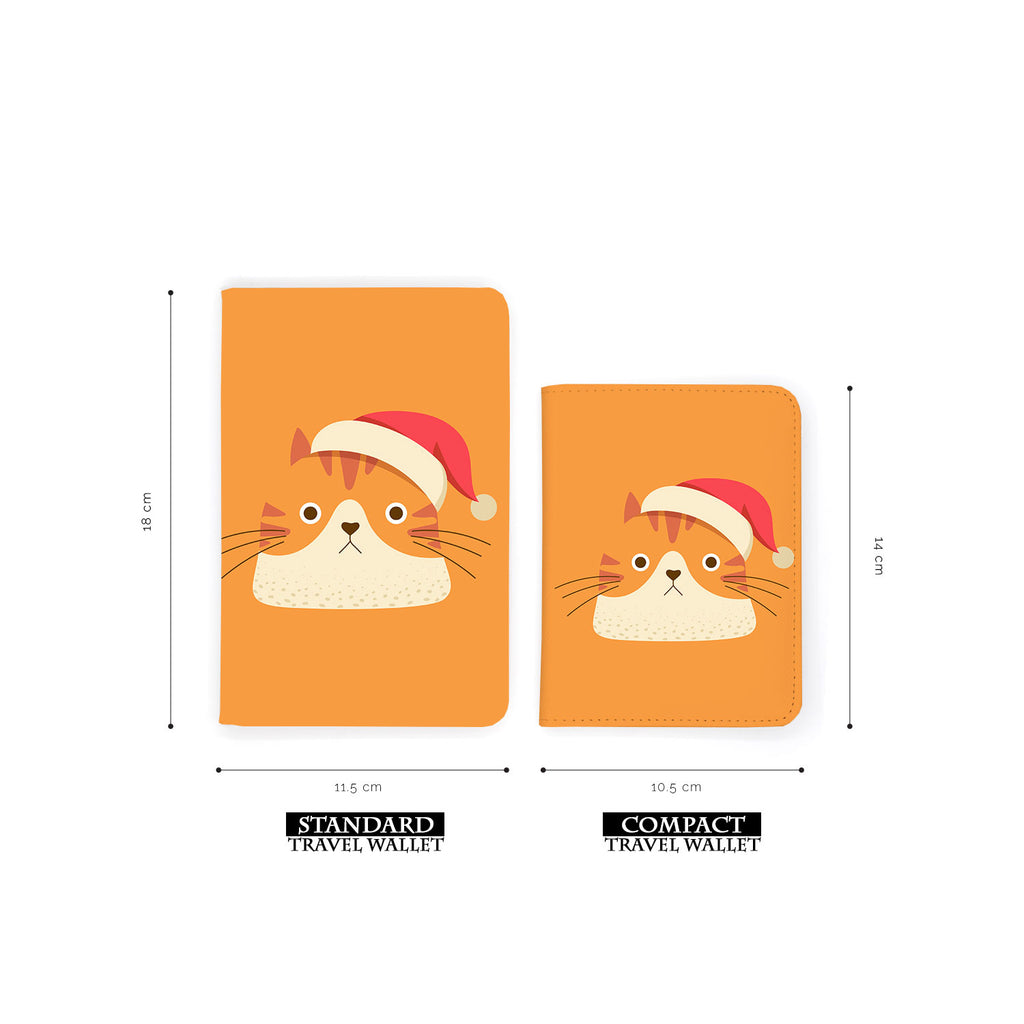 comparison of two sizes of personalized RFID blocking passport travel wallet with Cute Cat design