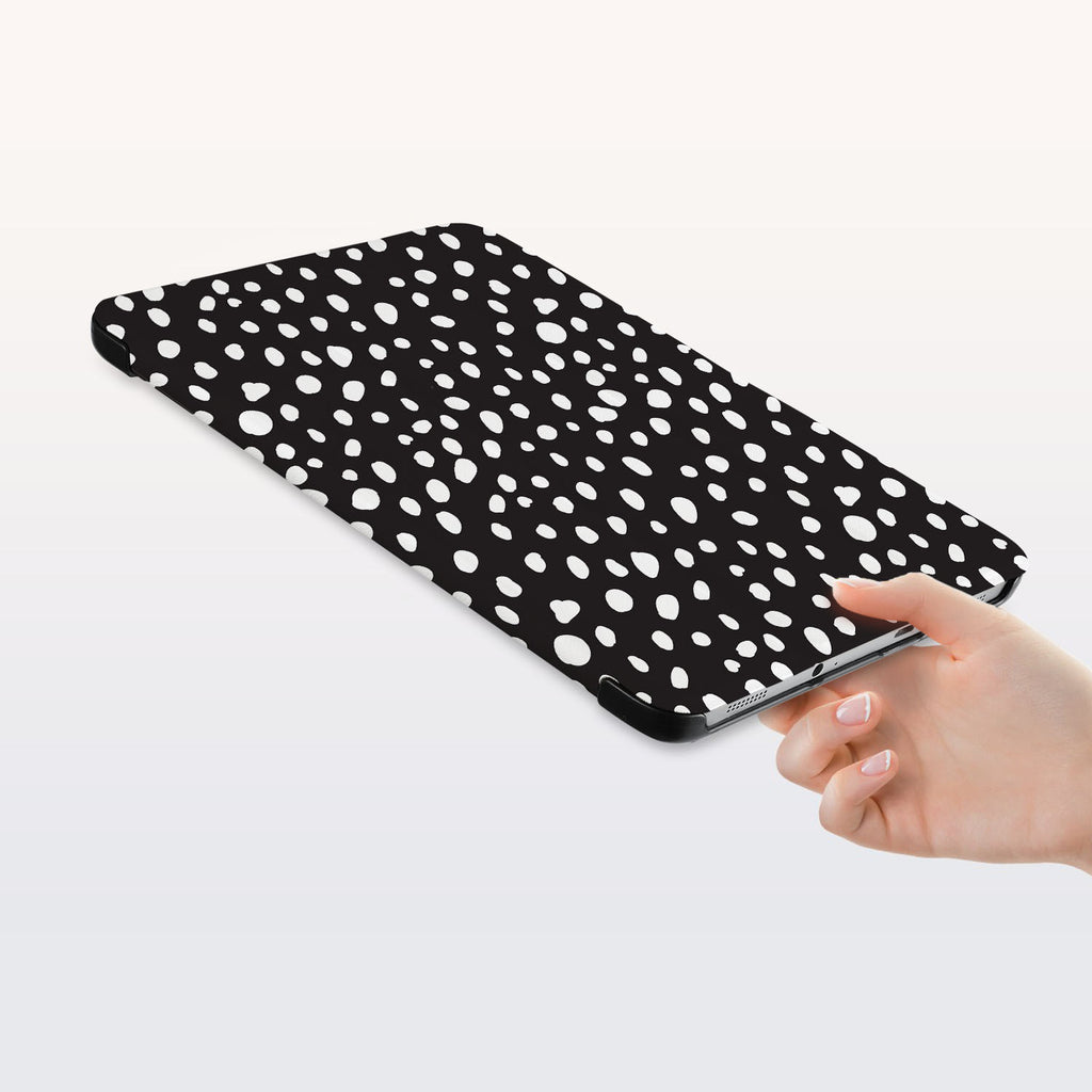 a hand is holding the Personalized Samsung Galaxy Tab Case with Polka Dot design
