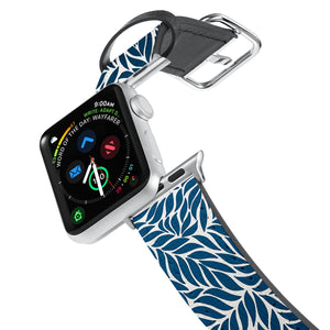 Printed Leather Apple Watch Band with Leaves 1 design. Designed for Apple Watch Series 4,Works with all previous versions of Apple Watch.