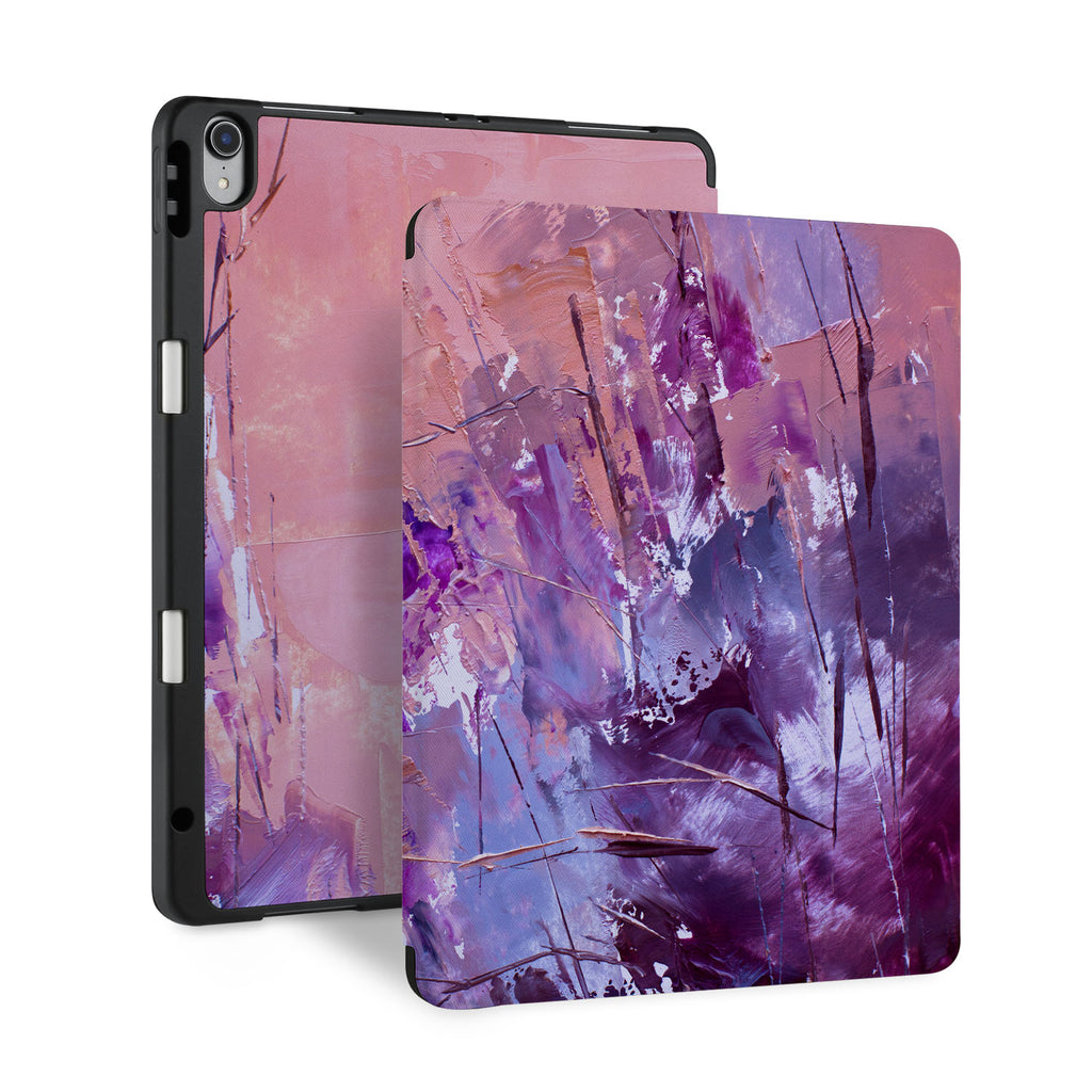 front and back view of personalized iPad case with pencil holder and Abstract Painting 2 design