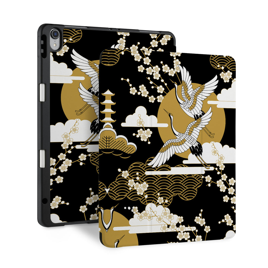 front and back view of personalized iPad case with pencil holder and Japanese design