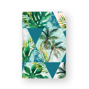 front view of personalized RFID blocking passport travel wallet with Tropical Leaves design