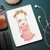 personalized iPad case smart cover with Charming Bear design on the office desk