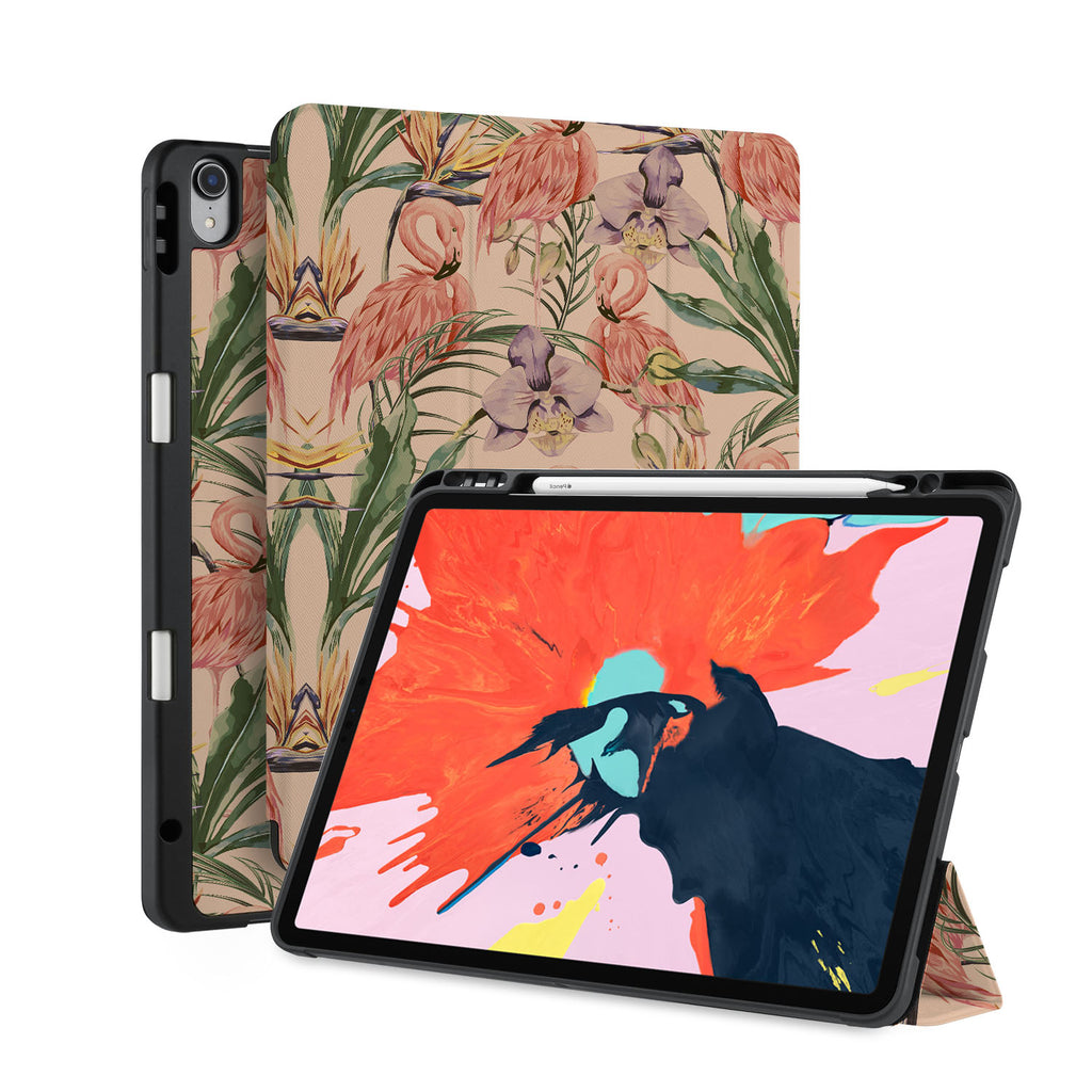 front back and stand view of personalized iPad case with pencil holder and Plants design
