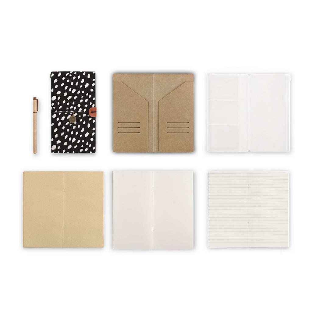 midori style traveler's notebook with Polka Dot design, refills and accessories