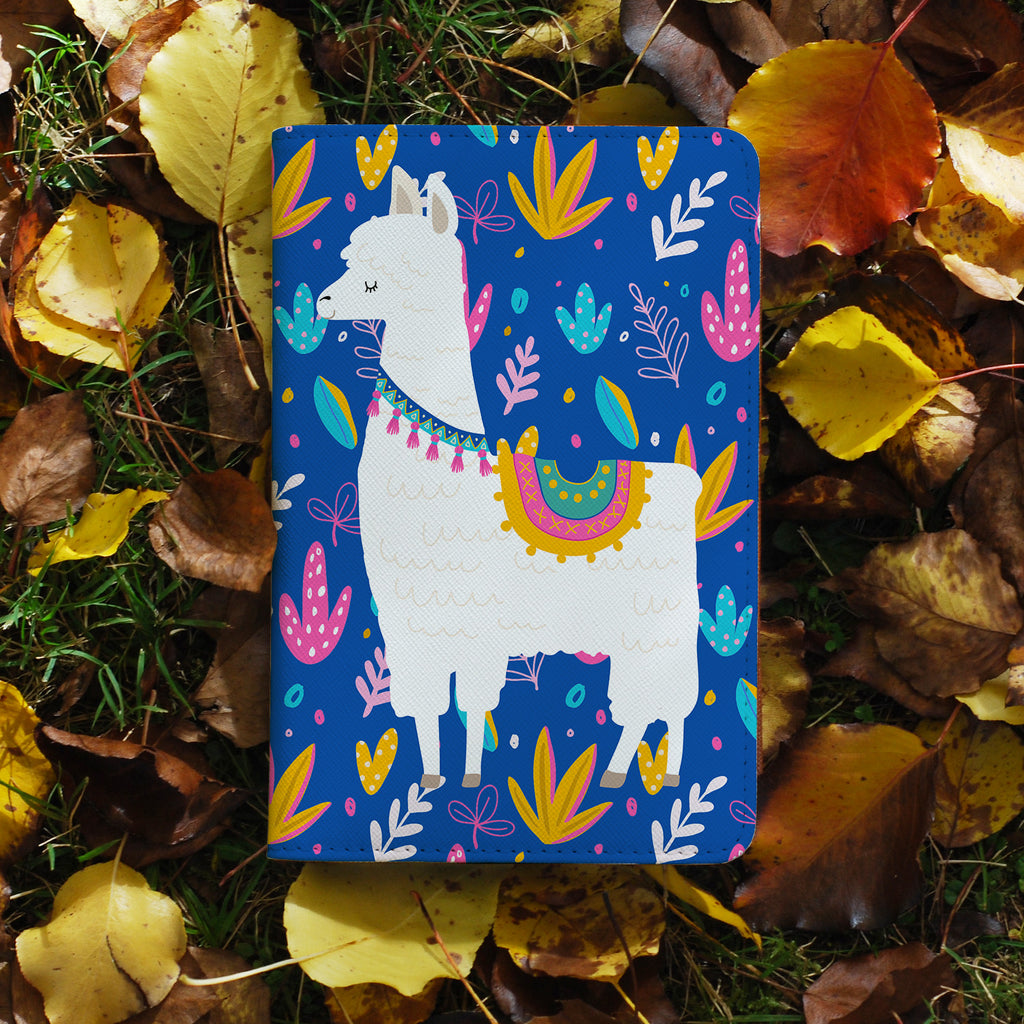 personalized RFID blocking passport travel wallet with Llamas design on maple leafs