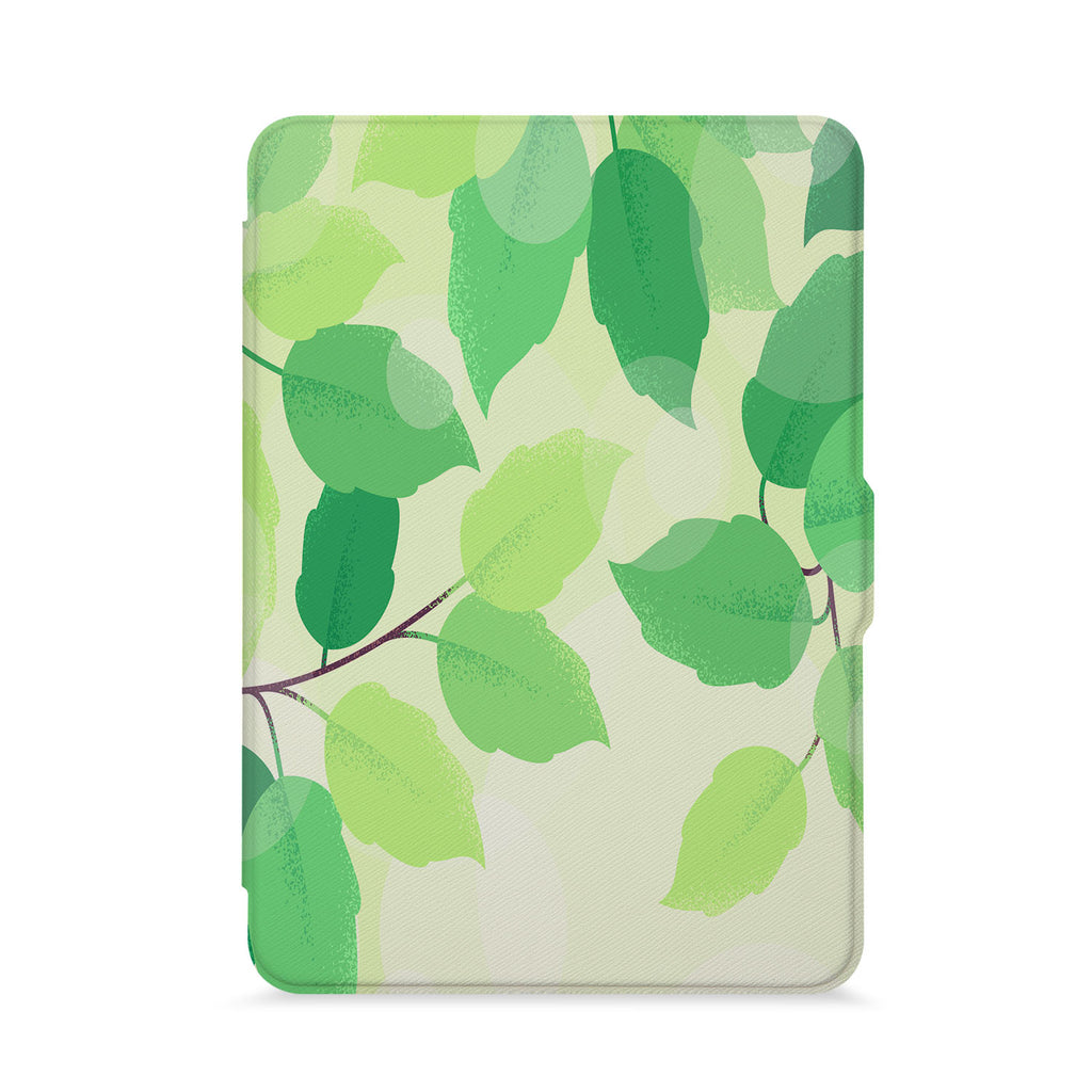 front view of personalized kindle paperwhite case with Leaves design - swap