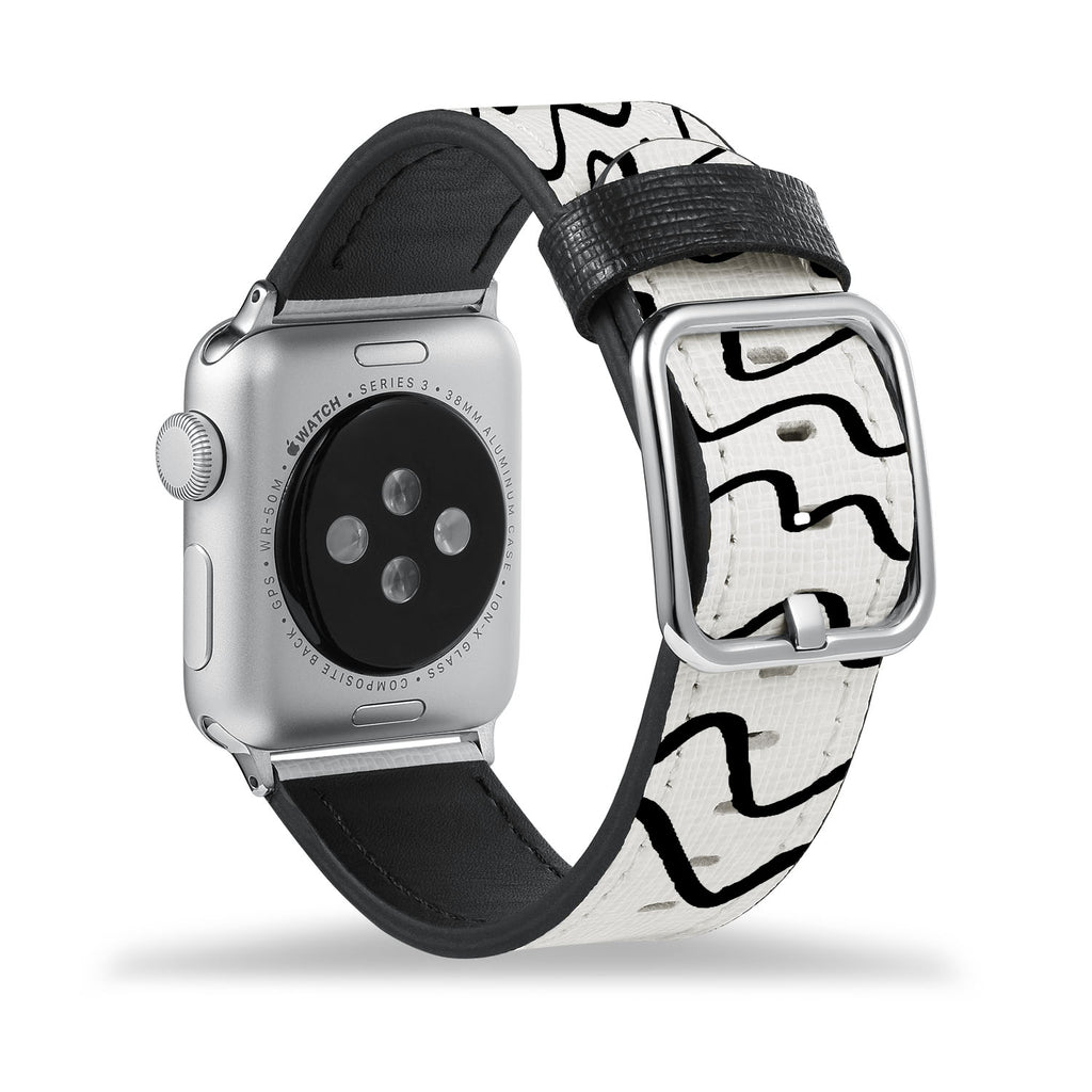 Printed Leather Apple Watch Band with Simple Pattern design Like all Apple Watch bands, you can match this band with any Apple Watch case of the same size