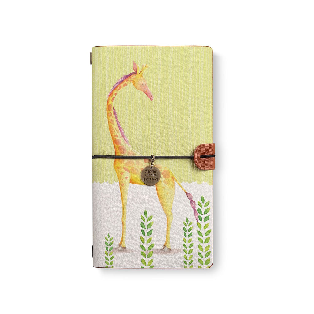 the front top view of midori style traveler's notebook with Cute Animal 2 design