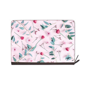 front view of personalized Macbook carry bag case with Flat Flower 2 design