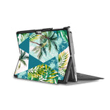 the back side of Personalized Microsoft Surface Pro and Go Case in Movie Stand View with Tropical Leaves design - swap