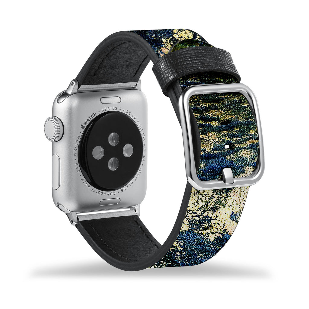 Printed Leather Apple Watch Band with Cornish Coast design Like all Apple Watch bands, you can match this band with any Apple Watch case of the same size
