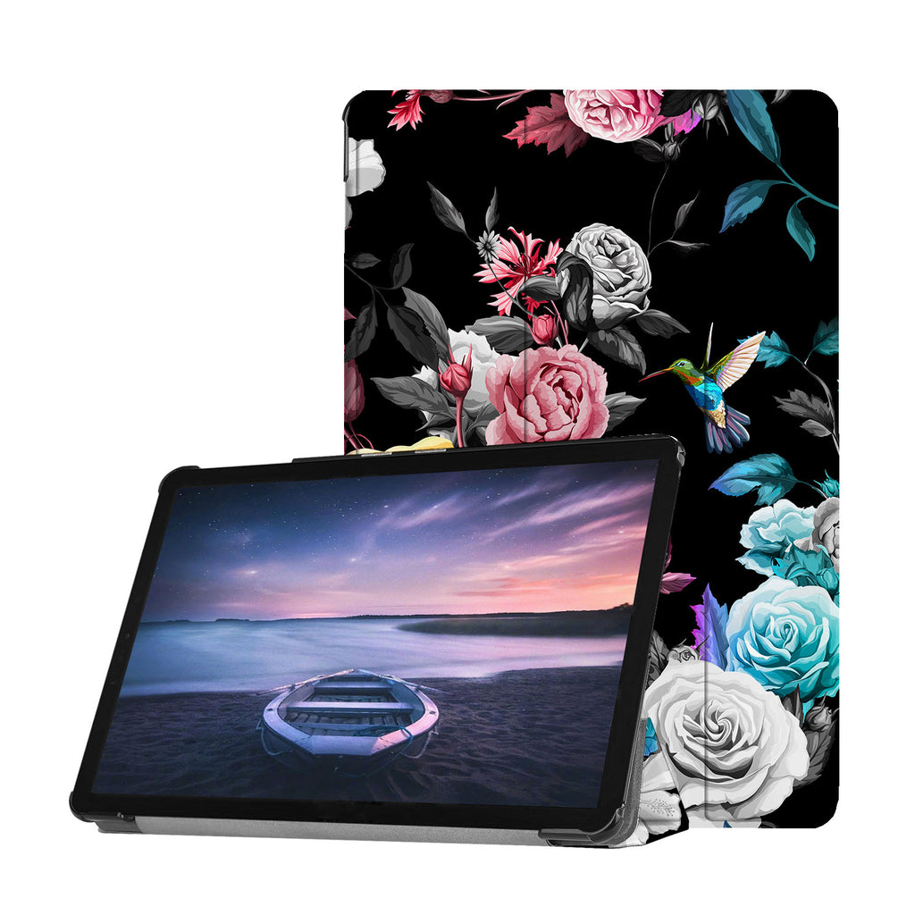 Personalized Samsung Galaxy Tab Case with Black Flower design provides screen protection during transit