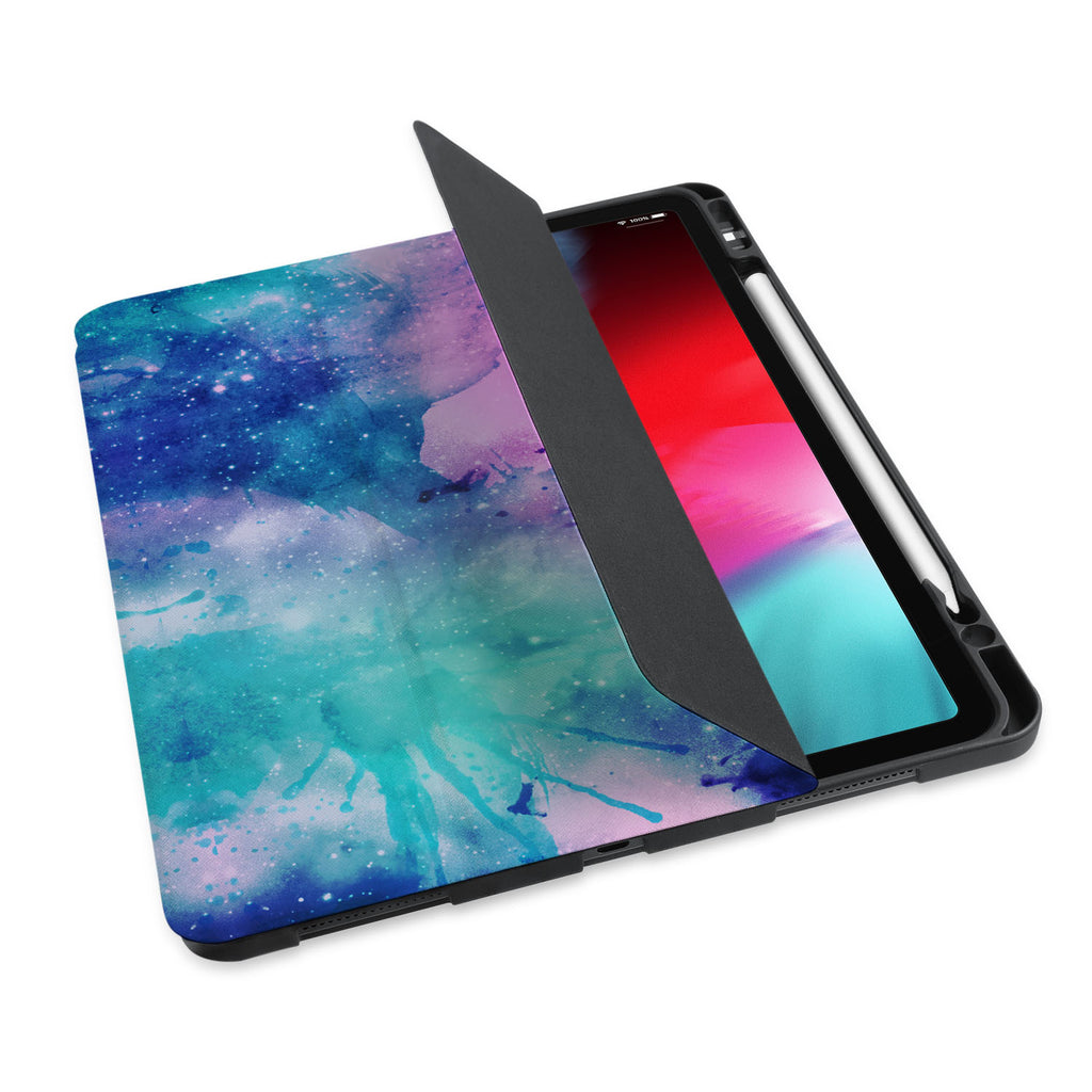 personalized iPad case with pencil holder and Watercolor Universe design