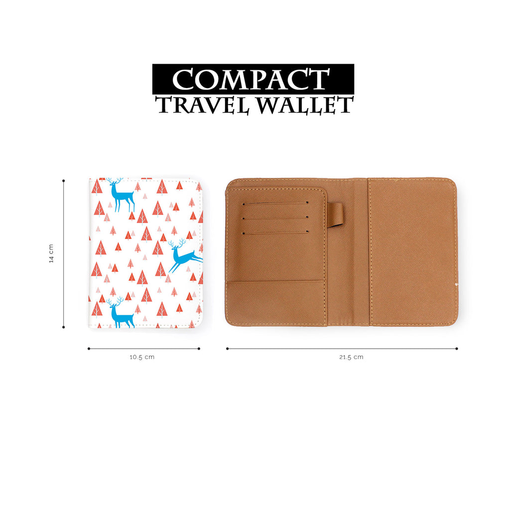 compact size of personalized RFID blocking passport travel wallet with Fox And Deer design