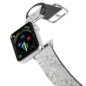 Printed Leather Apple Watch Band with Tiny Flowers Pattern design. Designed for Apple Watch Series 4,Works with all previous versions of Apple Watch.