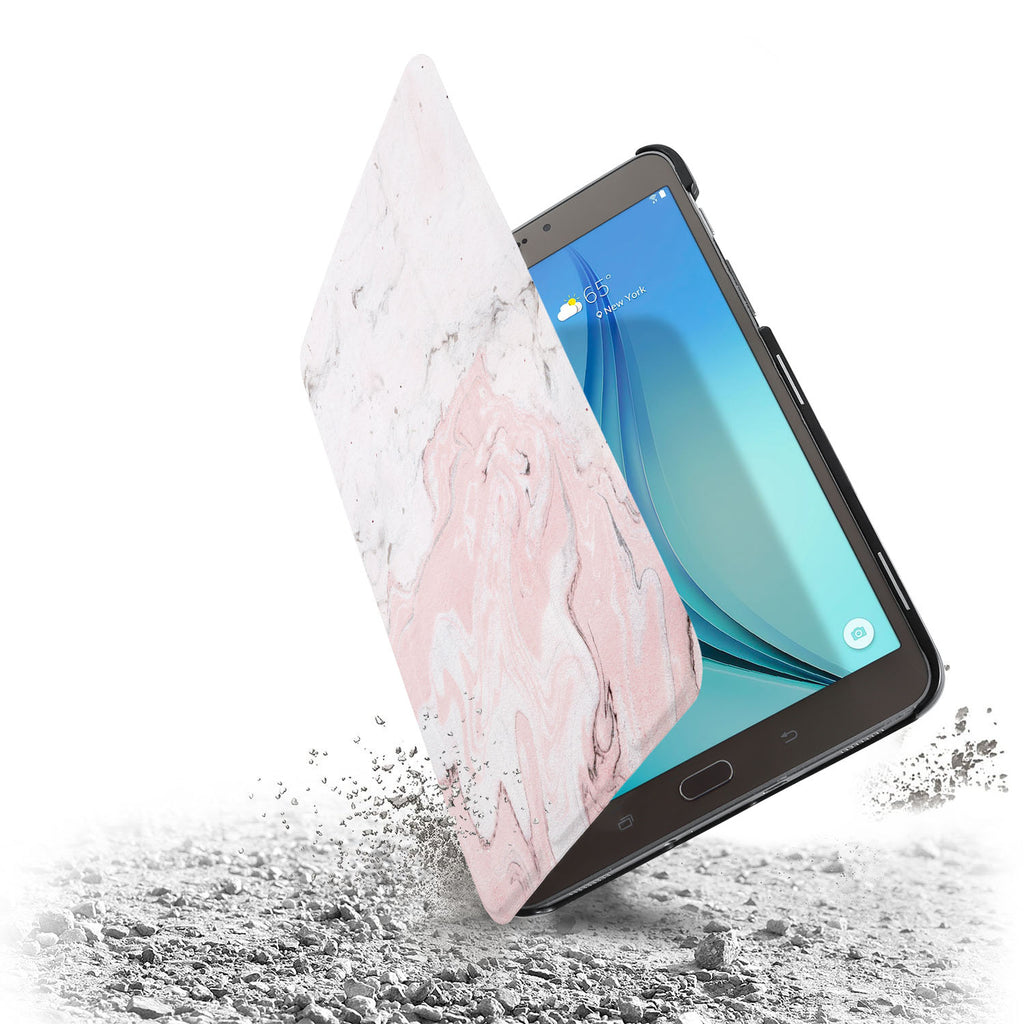 the drop protection feature of Personalized Samsung Galaxy Tab Case with Pink Marble design